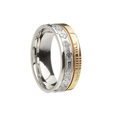 Celtic Ring - 10k Yellow Gold and Sterling Silver Comfort Fit 'Faith' Celtic Cross Irish Band