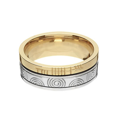 """Irish Rings - 10k Yellow Gold and Sterling Silver Comfort Fit """"Faith"""" Newgrange Celtic Spiral Band"""