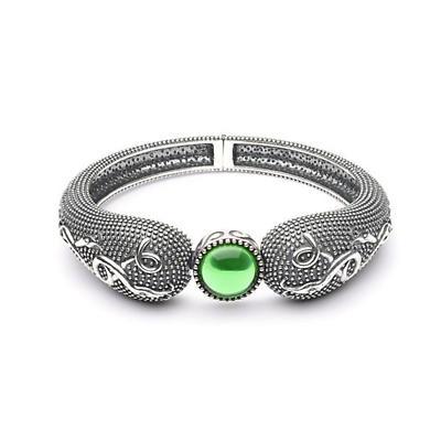 Celtic Bracelet - Antiqued Sterling Silver with Green Glass Stone Celtic Irish Bracelet