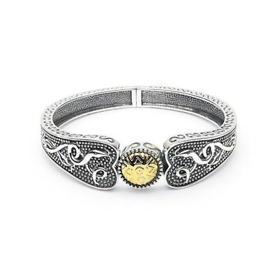 Celtic Bracelet - Oxidized Sterling and 18k Gold Bead Antiqued Irish Bracelet - Wide