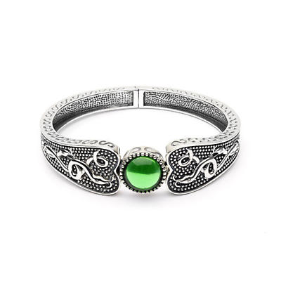 Celtic Bracelet - Oxidized Sterling and Green Glass  Antiqued Irish Bracelet -Wide