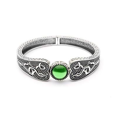 Celtic Bracelet - Oxidized Sterling and Green Glass  Antiqued Irish Bracelet -Wide
