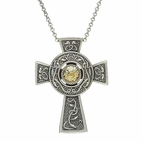 Celtic Cross Pendant  - Antiqued Sterling Silver with 18k Gold Bead Celtic Cross Necklace