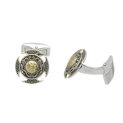 Celtic Cuff Links - Antiqued Sterling Silver with 18k Gold Bead Celtic Cuff Links