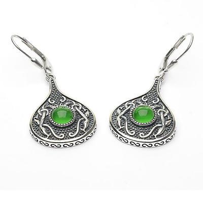 Celtic Earrings - Antiqued Sterling Silver with Green Glass Stone Teardrop Irish Earrings