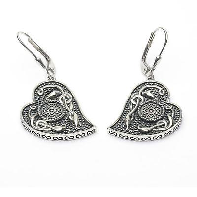 Celtic Earrings - Antiqued Sterling Silver Celtic Cross Heart Shaped Irish Earrings
