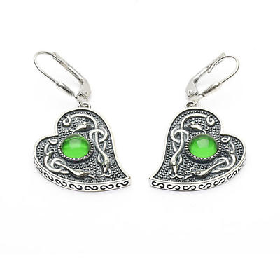 Celtic Earrings - Antiqued Sterling Silver with Green Glass Stone Heart Shaped Irish Earrings
