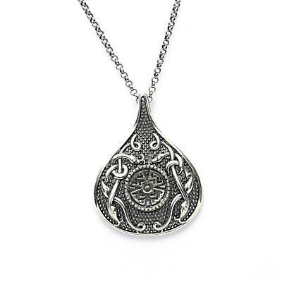 Celtic Pendant - Antiqued Sterling Silver Celtic Cross Teardrop Irish Necklace