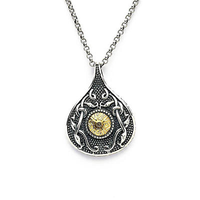 Celtic Pendant - Antiqued Sterling Silver with 18k Gold Bead Teardrop Irish Necklace