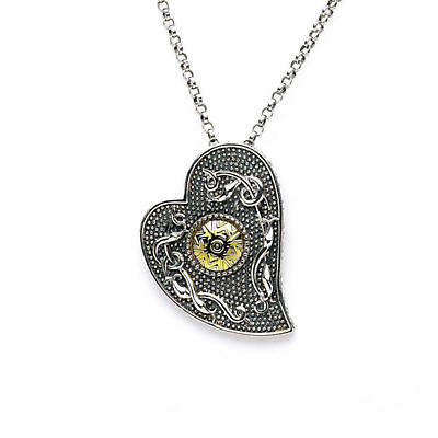 Celtic Pendant - Antiqued Sterling Silver with 18k Gold Bead Heart Shaped Irish Necklace