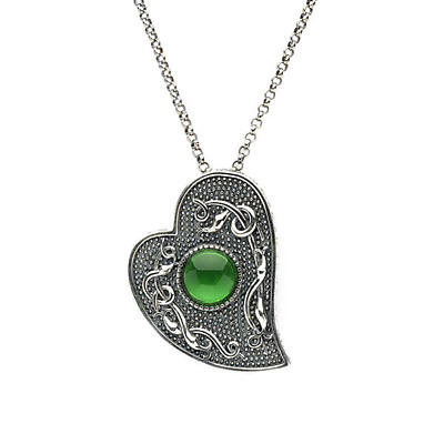 Celtic Pendant - Antiqued Sterling Silver with Green Glass Stone Heart Shaped Irish Necklace