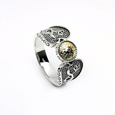Celtic Ring - Antiqued Sterling Silver with 18k Gold Bead Celtic Warrior Irish Ring