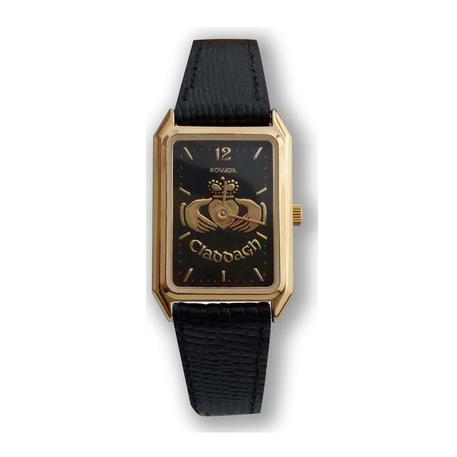 Irish Watch - Ladies Rectangle Gold Plated Claddagh Watch