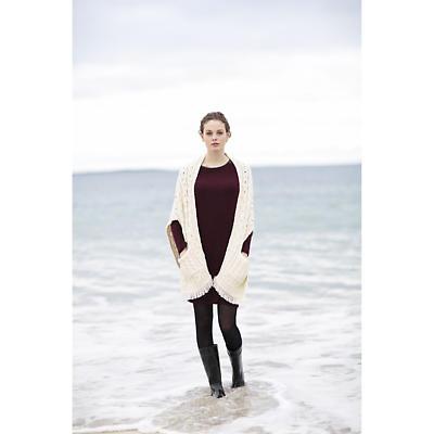Ladies Merino Wool Wrap with Pockets - White