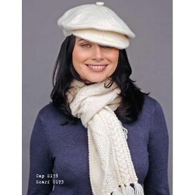 Ladies Merino Wool Handknit Hat and Scarf Set