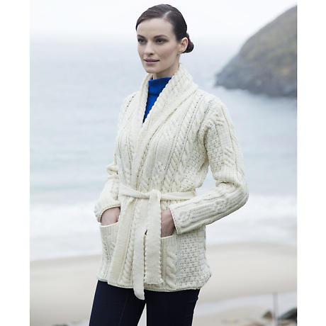Irish Wool Sweater - Ladies Merino Wool Aran Belted Cardigan with Shawl Collar
