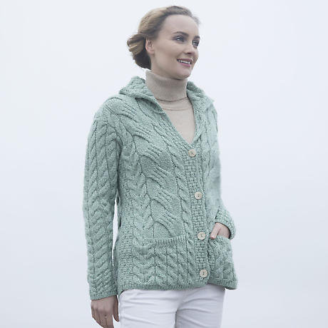 Irish Wool Sweater - Ladies Super Soft Merino Wool Buttoned Cable Cardigan