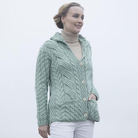 Irish Wool Sweater - Ladies Super Soft Merino Wool Buttoned Cable Cardigan