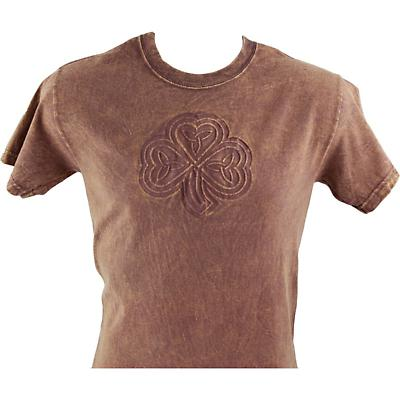 Irish T-Shirt- Embossed Shamrock Knot - Chestnut
