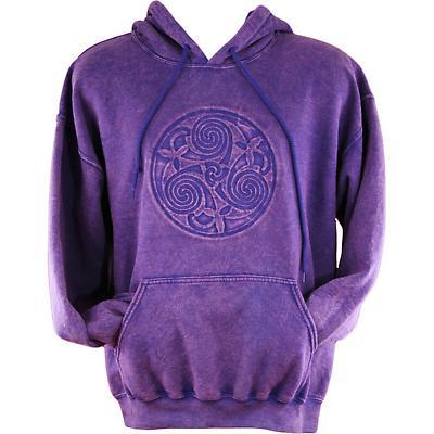 Irish Hooded Sweatshirt - Embossed Triskele - Purple