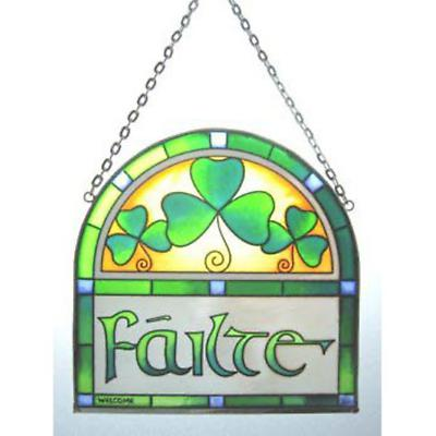 """Failte """"Welcome"""" Hanging Stained Glass Arch"""