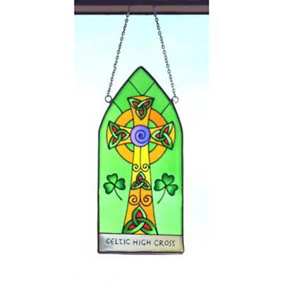 Celtic High Cross Hanging Stained Glass