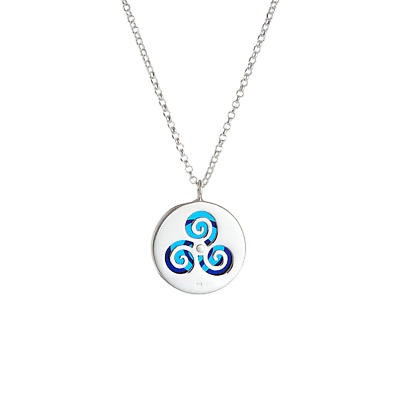 Irish Necklace - Sterling Silver Children of Lir Pendant - Blue