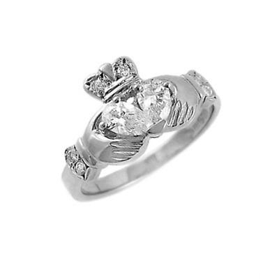 Claddagh Ring - Ladies 14k White Gold Claddagh with Two Diamond Heart Irish Wedding Ring