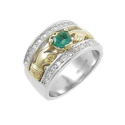 Claddagh Ring - Ladies 14k Two Tone Gold Emerald and Diamonds Claddagh Irish Wedding Ring