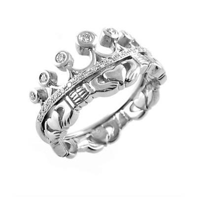 Claddagh Ring - Ladies 14k White Gold Claddagh with Diamonds Irish Wedding Ring