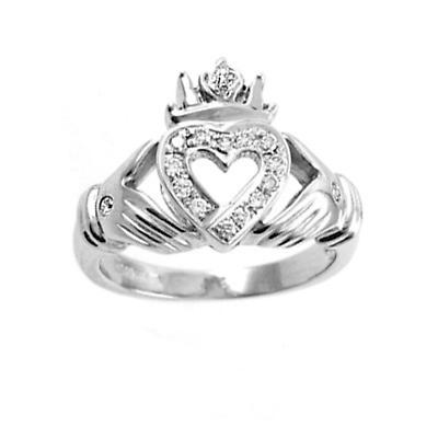 Claddagh Ring - Ladies 14k White Gold Claddagh with Open Heart Diamonds Irish Wedding Ring