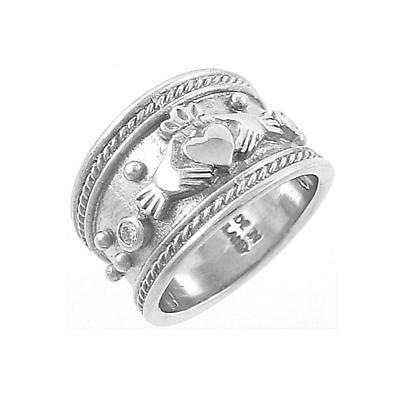 Claddagh Ring - Ladies 14k White Gold Claddagh with Diamonds Wide Irish Wedding Ring
