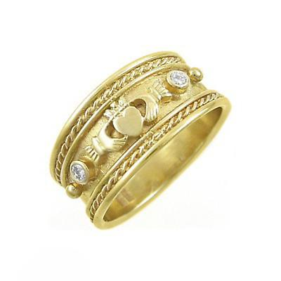 Claddagh Ring - Ladies 14k Yellow Gold Claddagh with Two Diamonds Irish Wedding Ring.