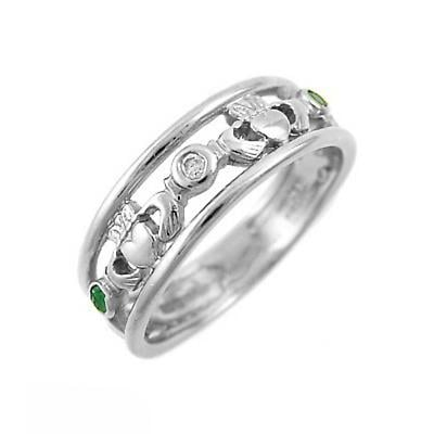 Claddagh Ring - Ladies 14k White Gold Claddagh with Emeralds and Diamonds Irish Wedding Ring