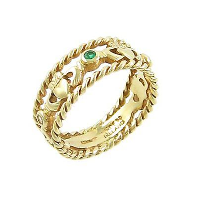 Claddagh Ring - Ladies 14k Yellow Gold Claddagh with Emeralds and Diamonds Celtic Twist Irish Wedding Ring.
