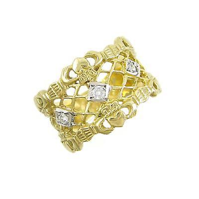 Claddagh Ring - Ladies 14k Yellow Gold Princess Claddagh with Diamonds Irish Wedding Ring