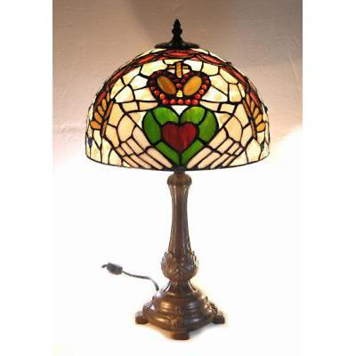 Claddagh Tiffany Style Stained Glass Lamp