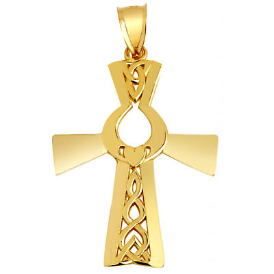 Claddagh Pendant - Yellow Gold Claddagh Celtic Cross