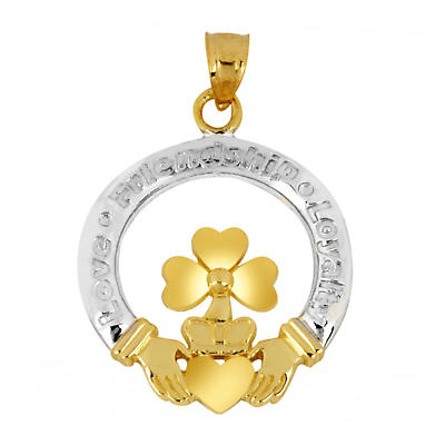 Claddagh Pendant - Two Tone Gold Claddagh and Shamrock