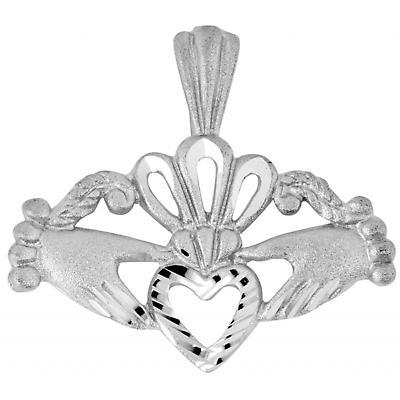 Claddagh Pendant - White Gold Fancy Claddagh