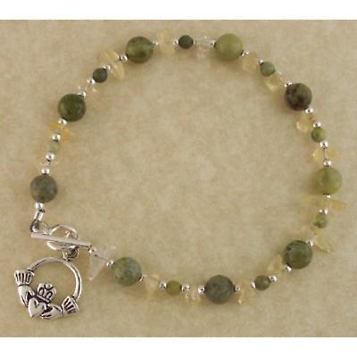 Claddagh Bracelet - Connemara Marble Claddagh Bracelet