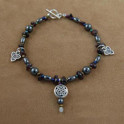 Celtic Bracelet - Garnet & Hematite Celtic Knot Bracelet