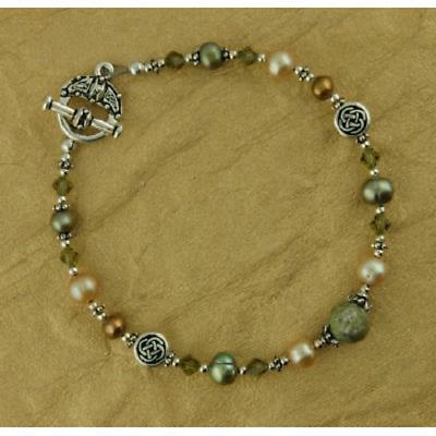Celtic Bracelet - Connemara Marble, Pearl and Swarovski Bracelet