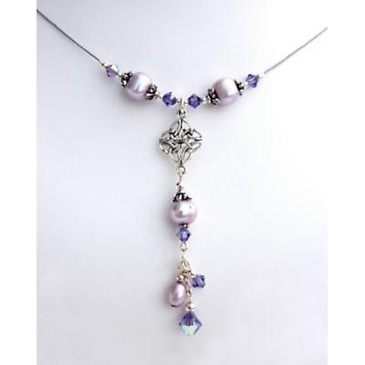 Celtic Necklace - Celtic Knot Pearl and Swarovski Necklace
