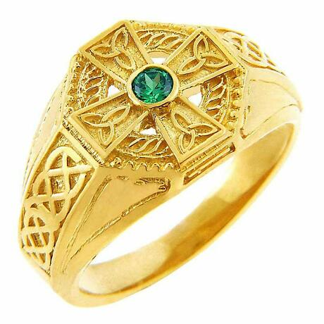 Celtic Ring - Men's Yellow Gold Celtic Cross Ring with Emerald Stone Center
