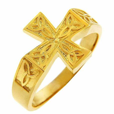 Celtic Ring - Men's Yellow Gold Celtic Trinity Cross Ring