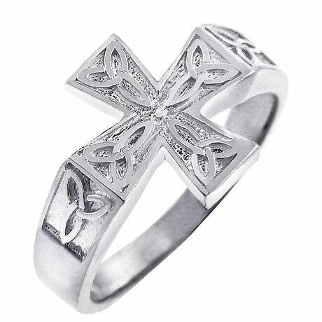Celtic Ring - Men's White Gold Celtic Trinity Cross Ring