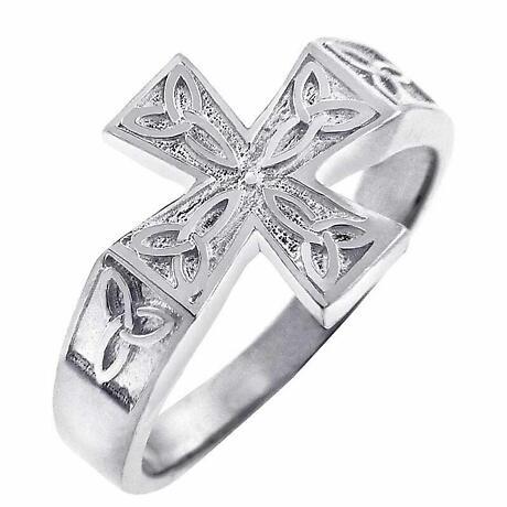 Celtic Ring - Men's White Gold Celtic Trinity Cross Ring