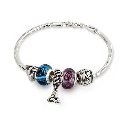 Symbols of Ireland Five Bead Bracelet