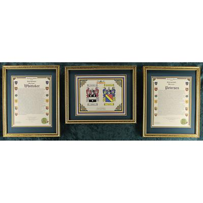 Framed Double Coat of Arms and Family History